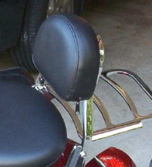 Mini Backrest and Pad. (Square Sissy Bar) / Backrest Mounting hardware is required.