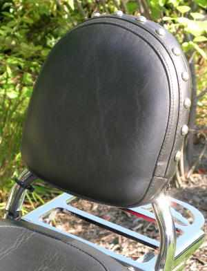 Standard Backrest and STUDDED Pad. (Tubular Sissy Bar) / Custom World Backrest Mounting hardware is required.
