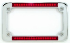 duel led motorcycle license plate frame classic chrome standard red or clear lens