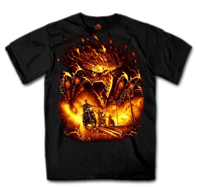 Custom short sleeve t shirt fire eagle bikes with back print for Custom fire t shirts