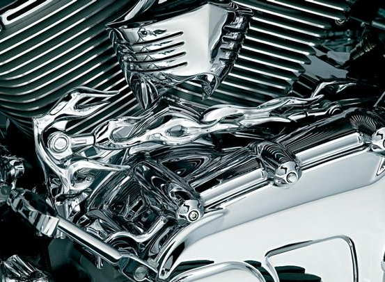 Chrome Flame Shift Linkage Arm Cover for 1982-2016 Harley Road Glides Road Kings