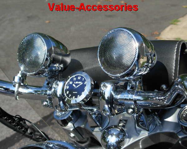 Motorcycle Speaker Sound System Chrome Or Black Pr