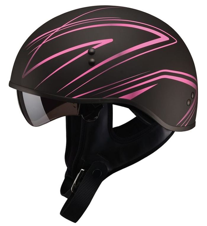 GMAX HH-65 Half Helmet - Torque Naked Matte Black/Pink