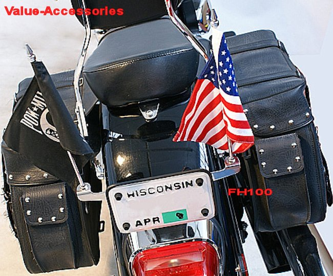 License Plate Mounted Double Flag Holder