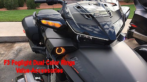 Bullet Led Arc Foglight Rings Dual Color Can Am Spyder