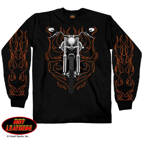 Custom long sleeve t shirt bike front flames with back for Custom photo t shirts front and back