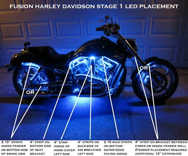 Fusion 21 Color Led Lighting Harley Kits